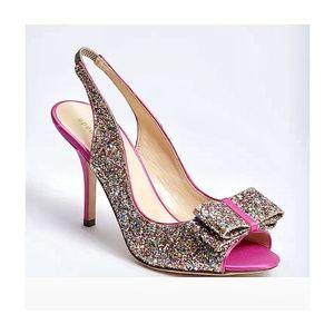 🌸Kate Spade  Charm Glitter Slingback heels